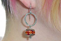 Model wearing Ancient Sterling Tribal Earrings