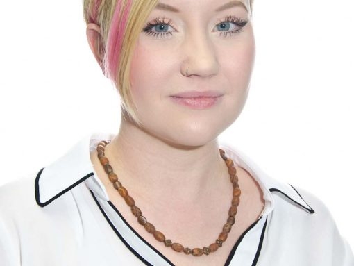Model Wearing Festive Fired Agate and Copper Necklace